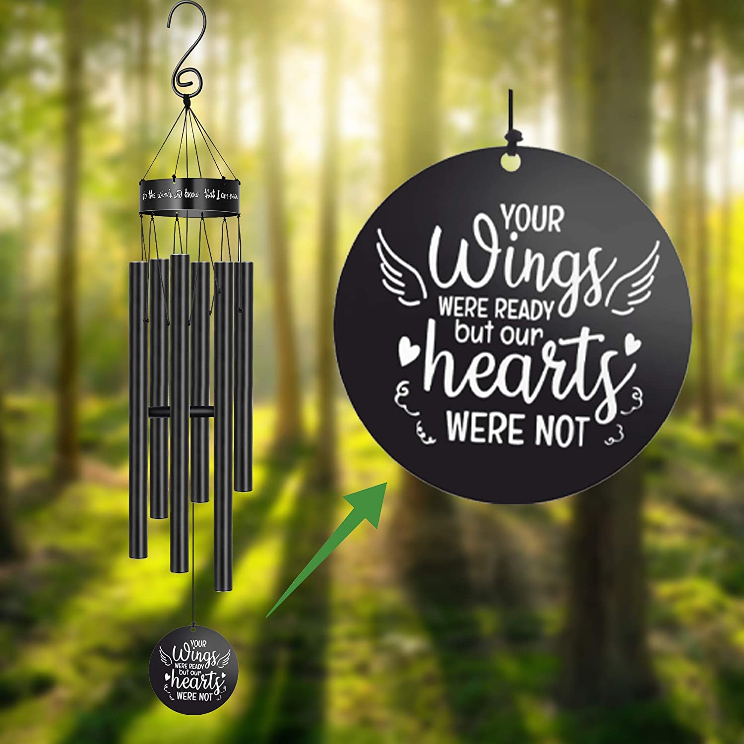 Sympathy Wind Chimes Outside for Loss of Loved One Rememberance Gifts Loss of Dad Mom Wife Husband Daughter Large Angel Windchimes Garden Patio Home Déco Your Wings Were Ready but Our Heart Was Not