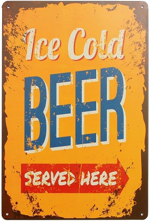 dise/ño Retro Cold Beer Here Placa de Metal con Texto en ingl/és Metal Plauqe para decoraci/ón de la Pared 20 x 30 cm