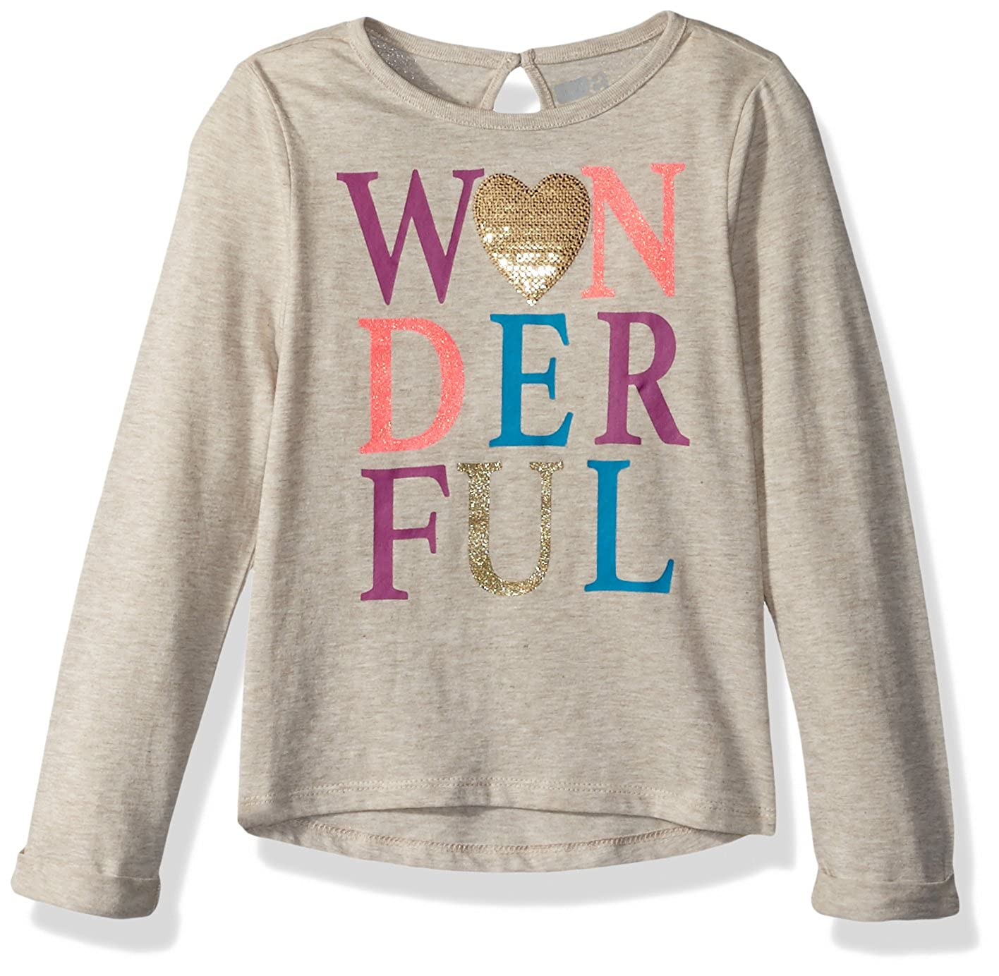 34505a132f79 Amazon.com: Crazy 8 Girls' Toddler Long Roll Sleeve Sparkle Graphic Tee:  Clothing