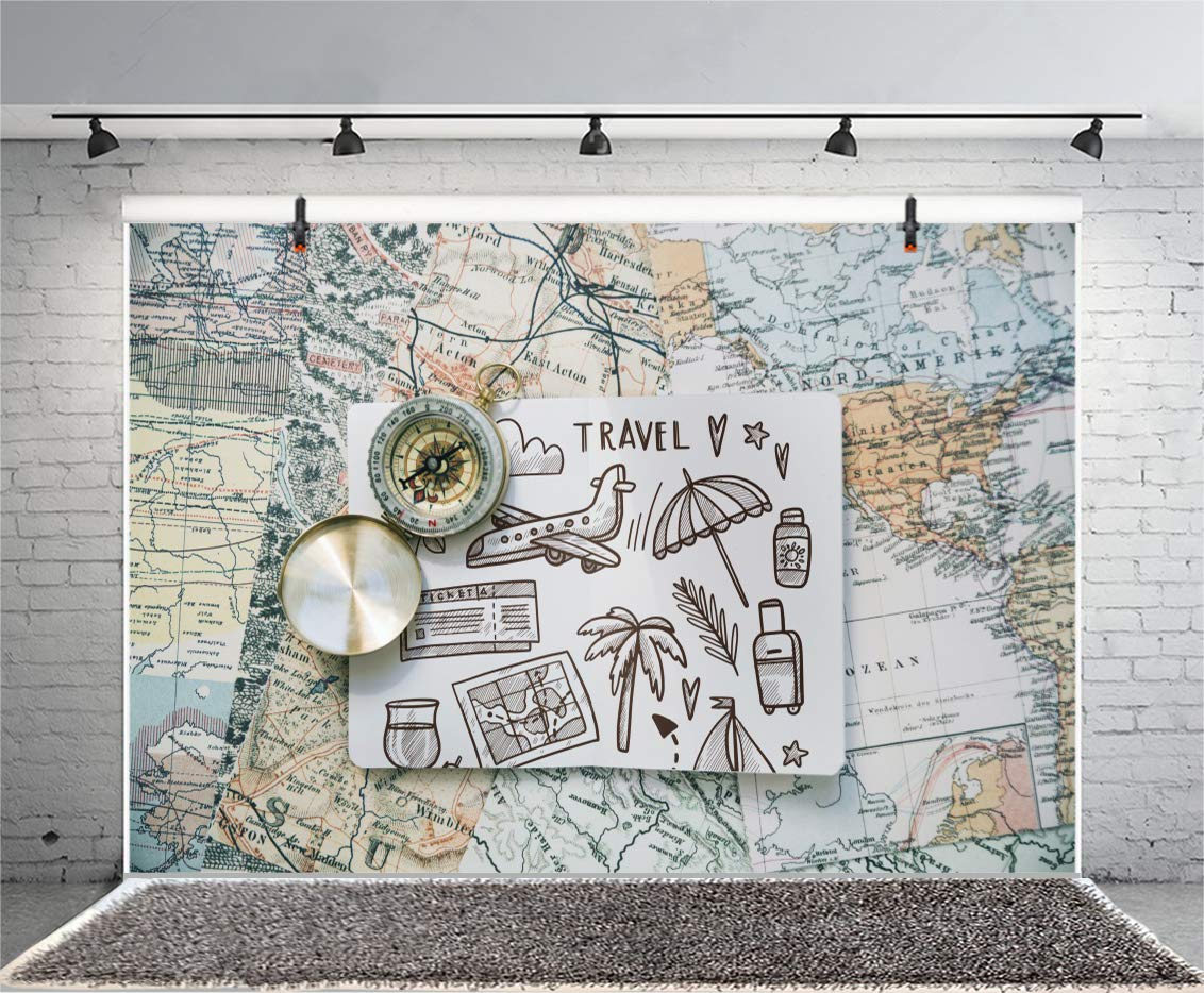 Leyiyi 7x5ft Photography Backgroud Globle Travel Backdrop Picture Tropical Seaside Holiday Voyage Plane Old World Map Tickets Suitcase Drink Umbrella Vintage Compass Photo Portrait Vinyl Studio Prop