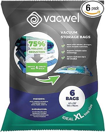 Vacume Pack Storage Bags Jumbo Size for Clothing Bedding Blankets EAR PADZ 8 Pack Vacuum Storage Bags Jumbo Reusable Space Saver Bags Double Zip Seal /& Leak Valve