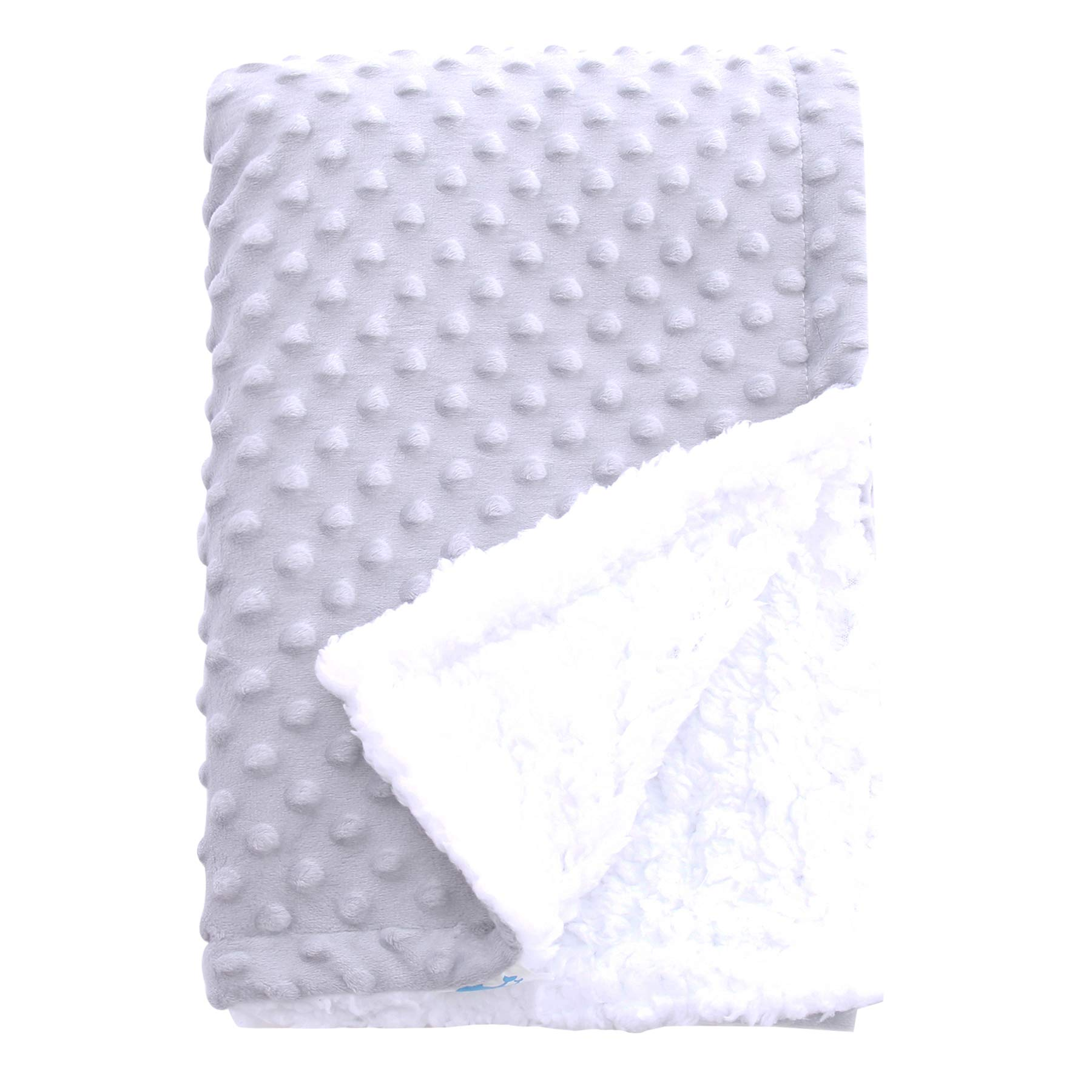 SWEET DOLPHIN Sherpa Minky Baby Blankets for Crib Stroller Nap Fuzzy Warm