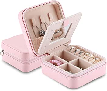 ProCase Small Jewelry Box Organizer, Faux Leather Portable Mini Travel Jewelry Trays Display Storage Case with Mirror for Necklaces Bracelets Earrings Rings -Pink