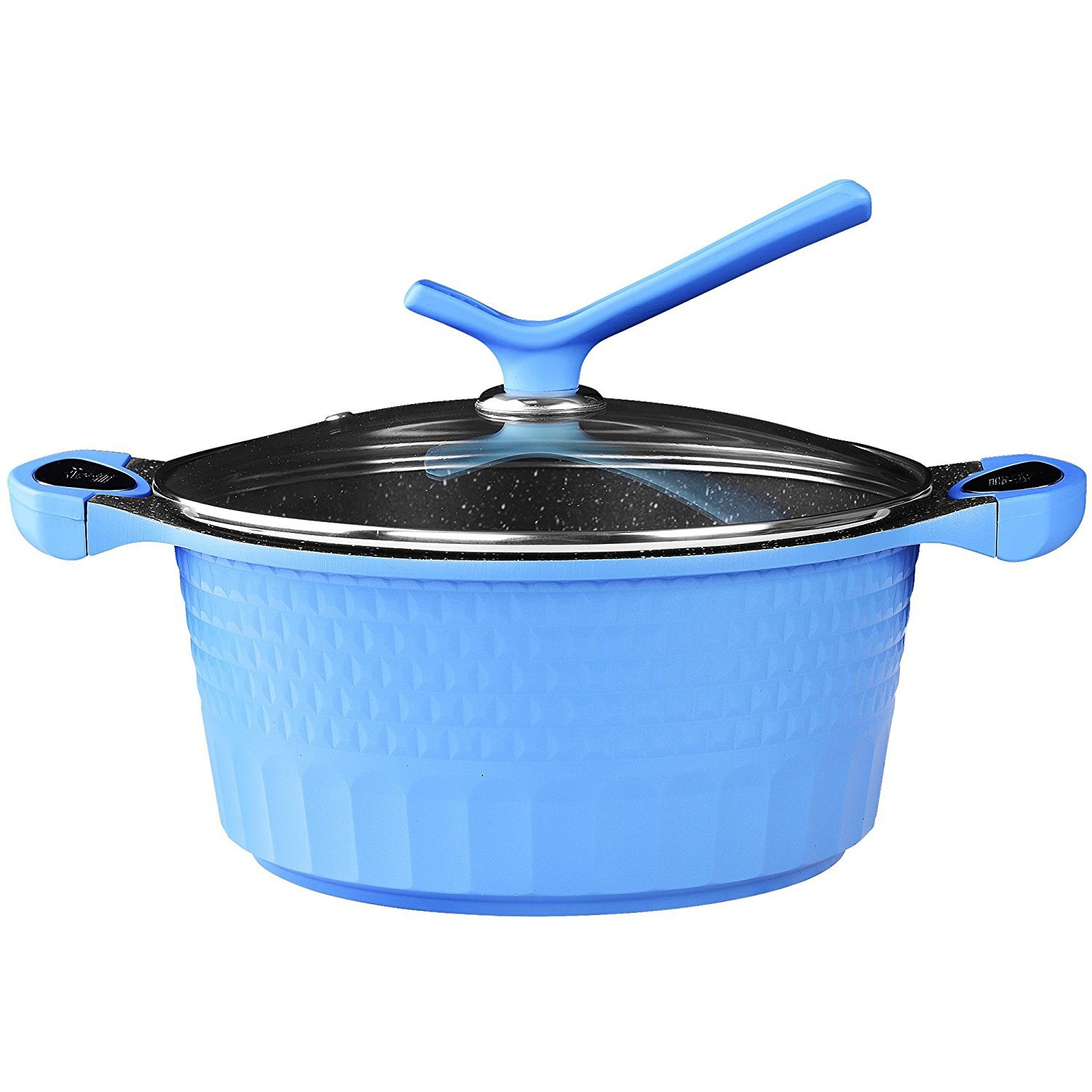 100% PFOA Free Marble Coated Non Stick Die-Casting Casserole Dish Pot Pan with Glass Lid & Silicon Handle (20 cm, Blue) Impero Romano