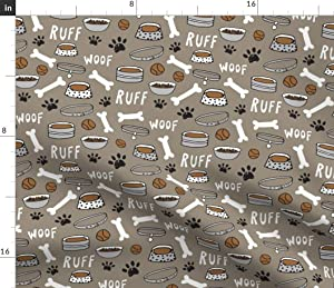 Spoonflower Fabric - Dog Bone Paw Print Cute Pet Illustration Pets Dogs Breeds Food Animal Printed on Petal Signature Cotton Fabric by The Yard - Sewing Quilting Apparel Crafts Decor