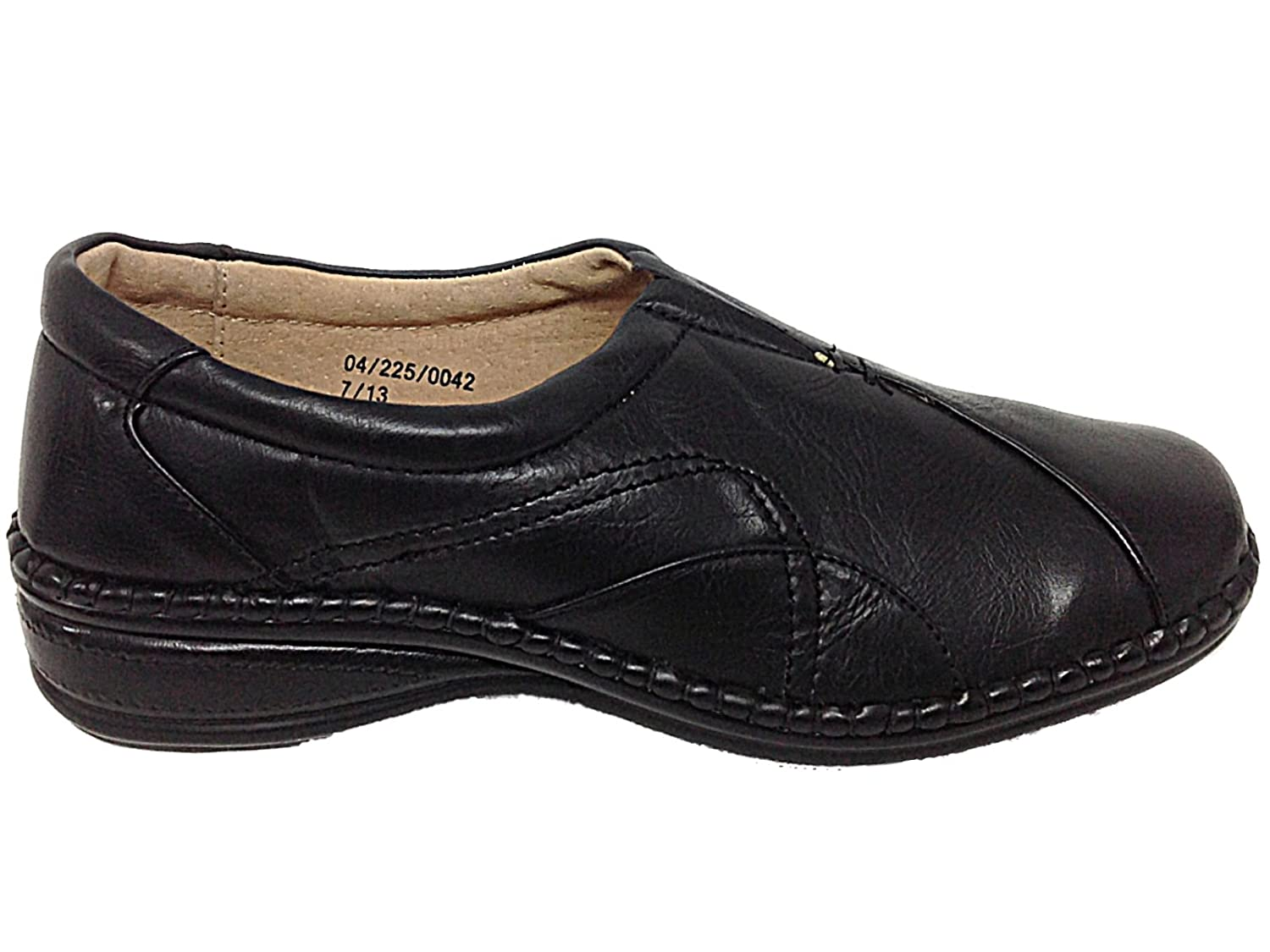eae677c93a3 Ladies Ganstead Cushion Walk Black Faux Leather Slip On Flat Loafer Shoes  Size 3-8 (UK 6)  Amazon.co.uk  Shoes   Bags