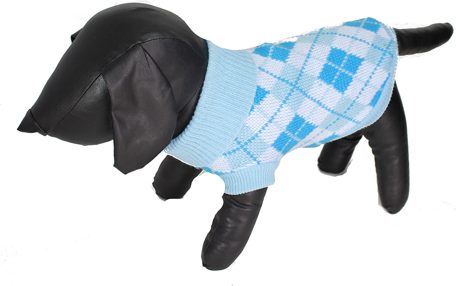 In X Small Glamour Girlz Adorable Small Dogs Baby Blue /& White Argyle Print Woolly Girl Boy Jumper Roll Neck