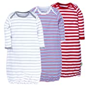 Unisex Baby Sleep Gown - 100% Breathable Cotton Soft & Lightweight Baby Nightgown with No-Scratch Mittens 9M