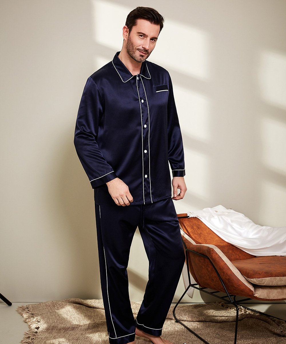 LilySilk Silk Pajamas Set For Men Summer 22 Momme Most Comfortable Sleepwear Navy Blue L by LilySilk (Image #2)