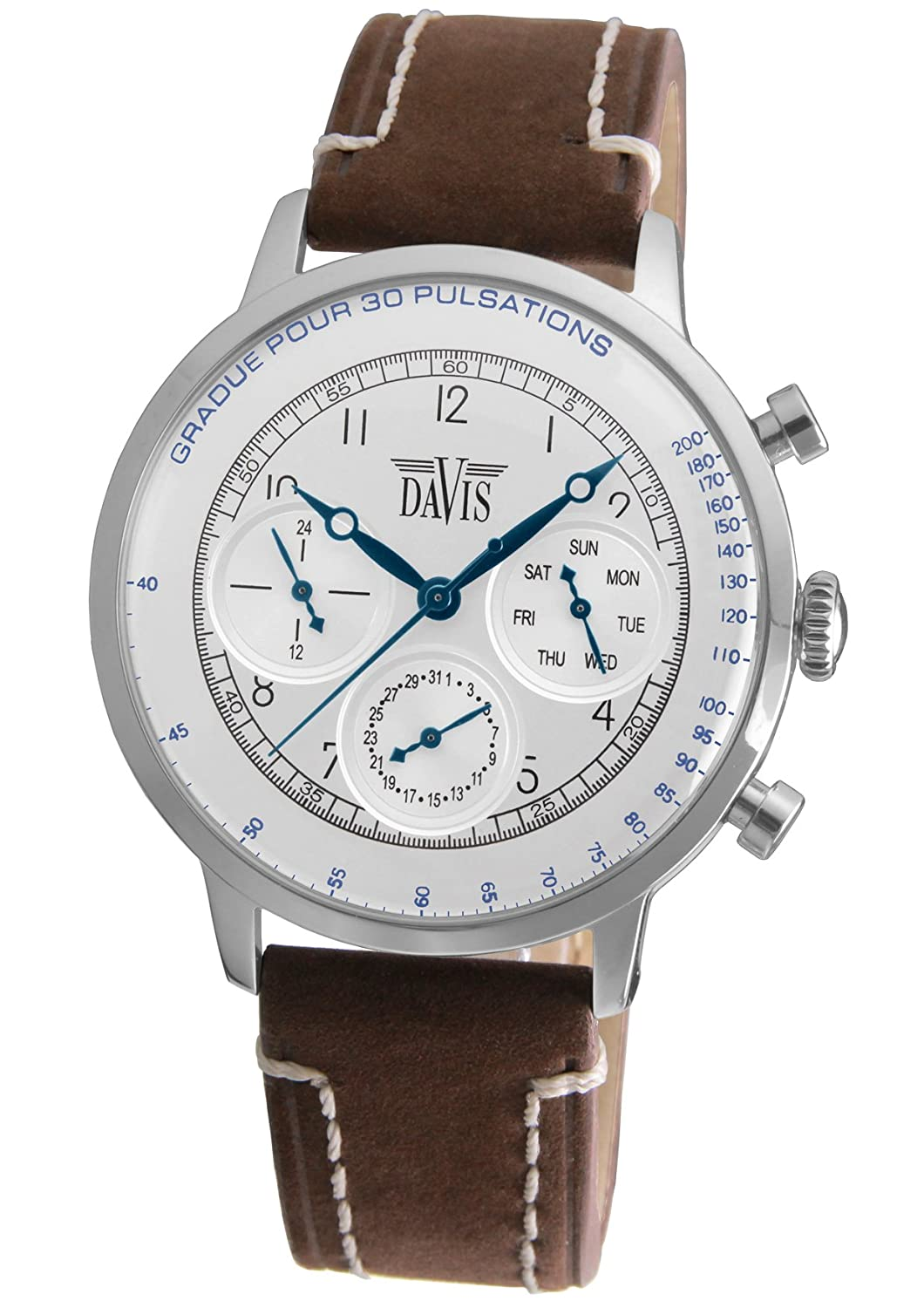 Davis 1921-Mens Doctor Retro Watch-Silver Dial- Day/Date ...