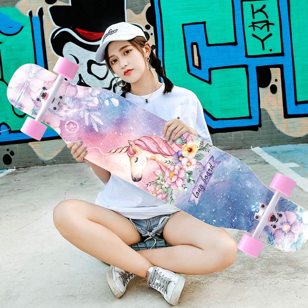 KTYXDE スクーターメイプルロングボードブラシストリートダンスボード四輪ダブルスケートボード初心者ティーンボーイガールプロスケートボード(フラッシュホイール付き) (Color : E) E