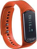 newgen medicals Uhr mit Schrittzähler: Wechsel-Armband für Fitness-Tracker FBT-40.HR, orange (Bluetooth Fitnessarmbänder mit Pulsmesser)