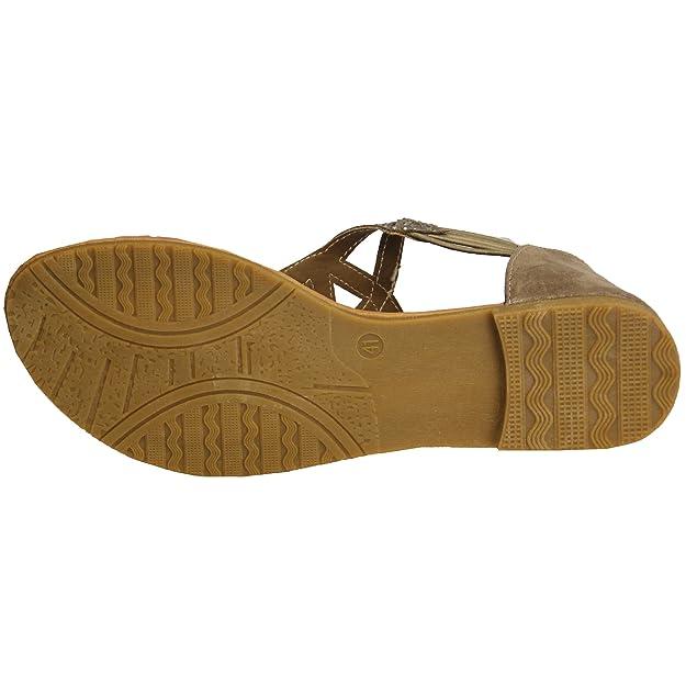 Damen Strass Sandalen Damen flache Riemen Zehentrenner Stecker Schuhe Party Sommer - hellbraun - 95026, 4 UK