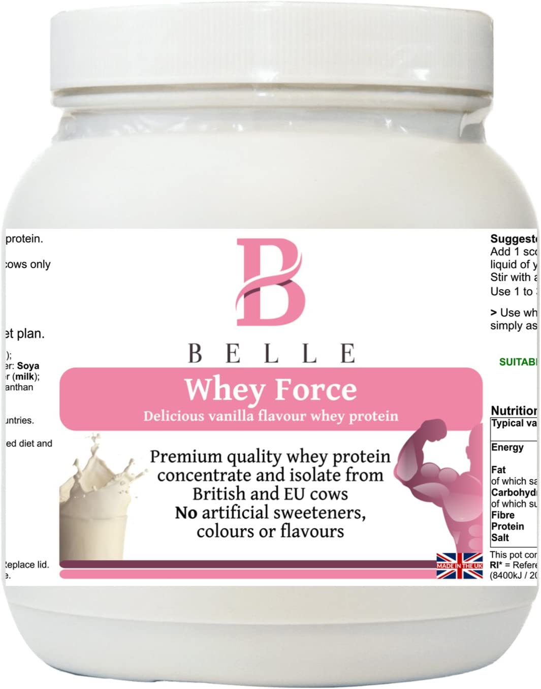 Belle® Whey Force Proteína en polvo - Premium Quality Vanilla ...