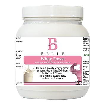 Belle® Whey Force Protein Powder - Deliciosa proteína de suero de leche con sabor a vainilla ...