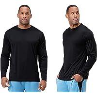 DEVOPS Men's 2 Pack UPF 50+ Sun Protection Long Sleeve Dri Fit Fishing Hiking Running Workout T-Shirts