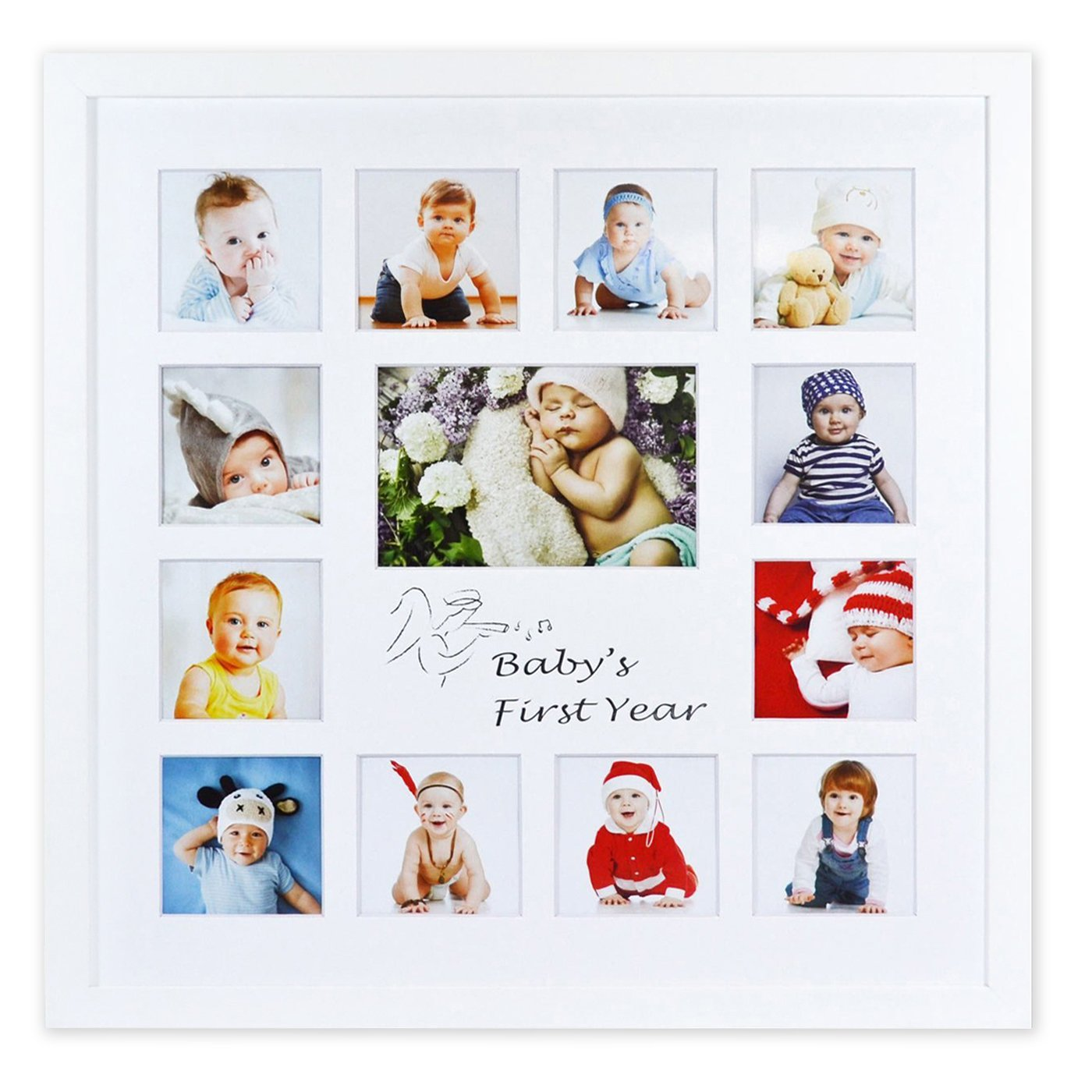 Golden State Art Baby Frames Collection, 16x16-inch My First Year Baby Photo Wood Frame, White by Golden State Art
