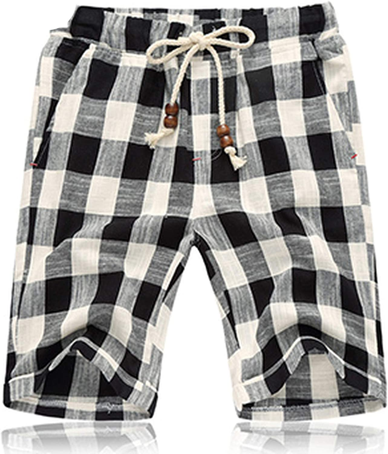 Mens Linen Shorts 2019 Summer Style Brand Men Plaid Cotton Shorts Casual Beach Shorts Men Balck and Blue