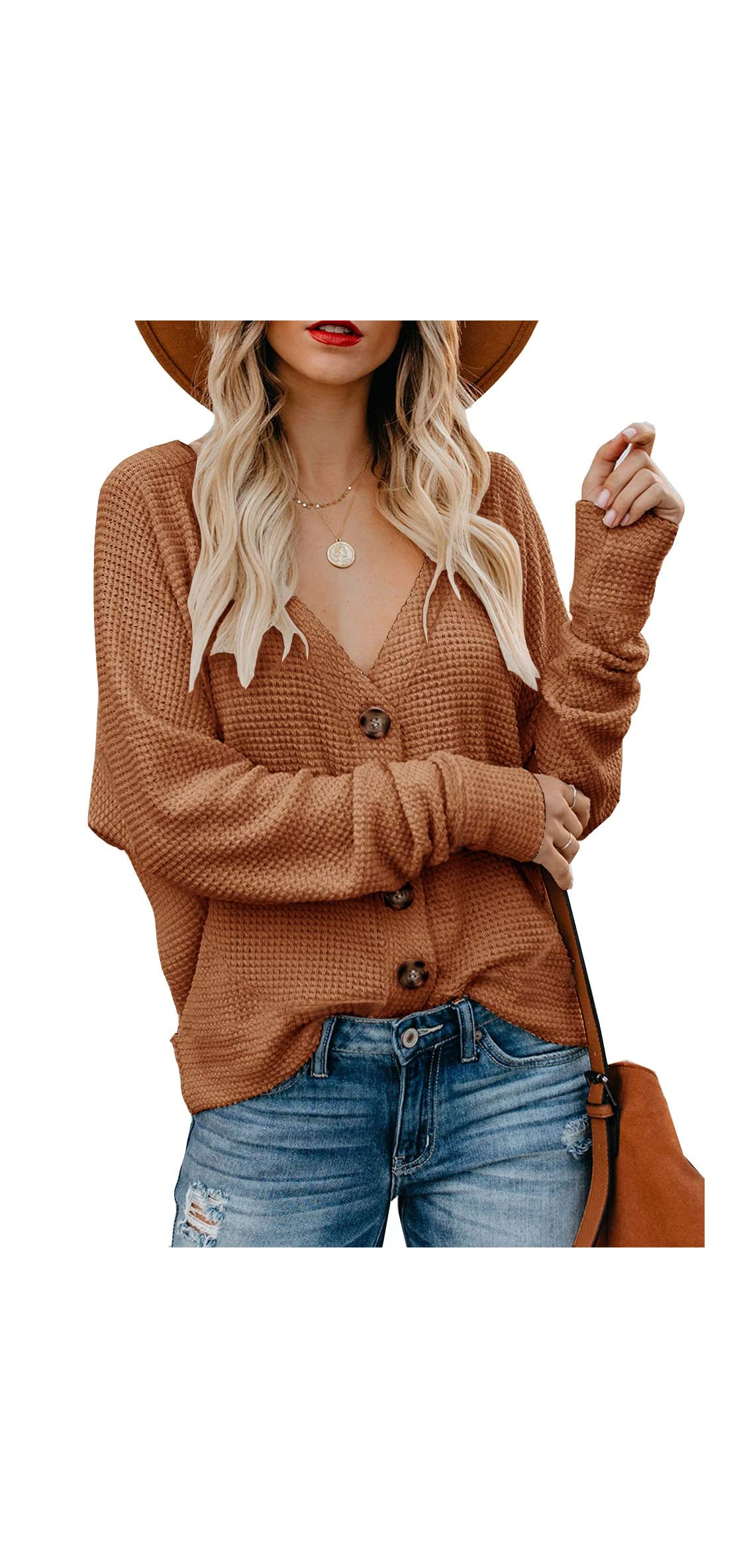 Women's Button Down Cardigan Sweaters Loose V Neck