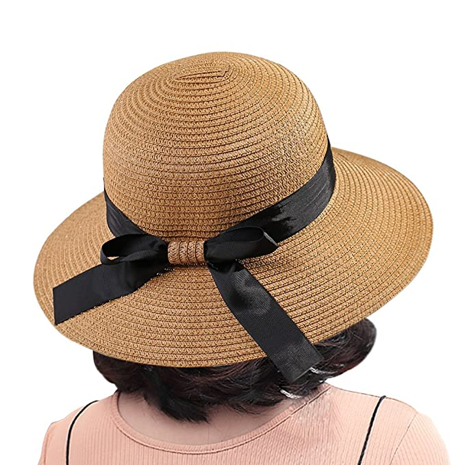 197768e0fa8 Polesem Straw Beach Hat for Women Brim Bowknot Uv Protection Outdoor Travel  by (Khaki)