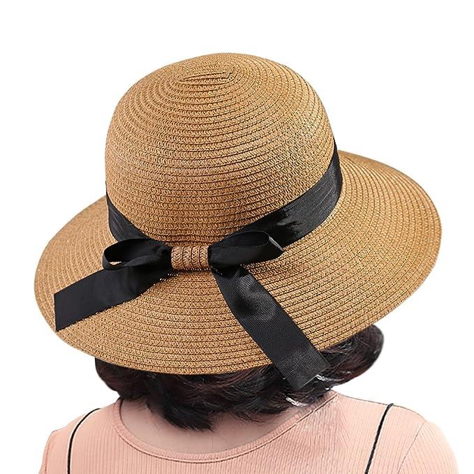 Amazon.com: Sombreros de sol paja visera bowknot protección ...