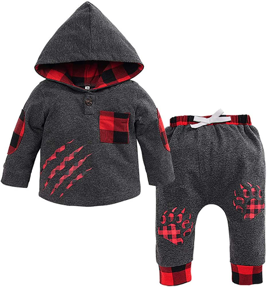 Sameno Infant Toddler Baby Boys Girls Plaid Hooded Pullover Tops Pants Outfits Set