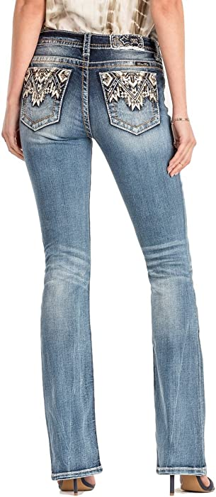 30d54561a42 Miss Me Come Together Aztec Medium Wash Mid Rise Boot Cut Jeans M3178B, 26
