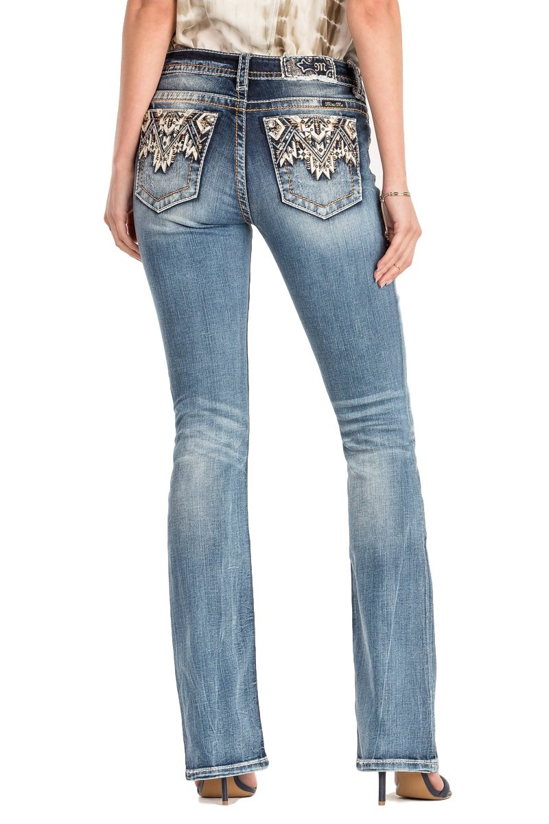 Miss Me Come Together Aztec Medium Wash Mid Rise Boot Cut Jeans M3178B, 26