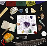 Dancing Bear Healing Crystals Meditation Altar Kit (35 Pc Set) + Instruction Guides, Rough & Tumbled Chakra Balance…