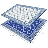 Ivation Indoor/Outdoor Lightweight Reversible Decorative Rug Use for Patio, Pool areas, Campers, RV's Mud Room, Boats and more 9 x 12 Lattice Design