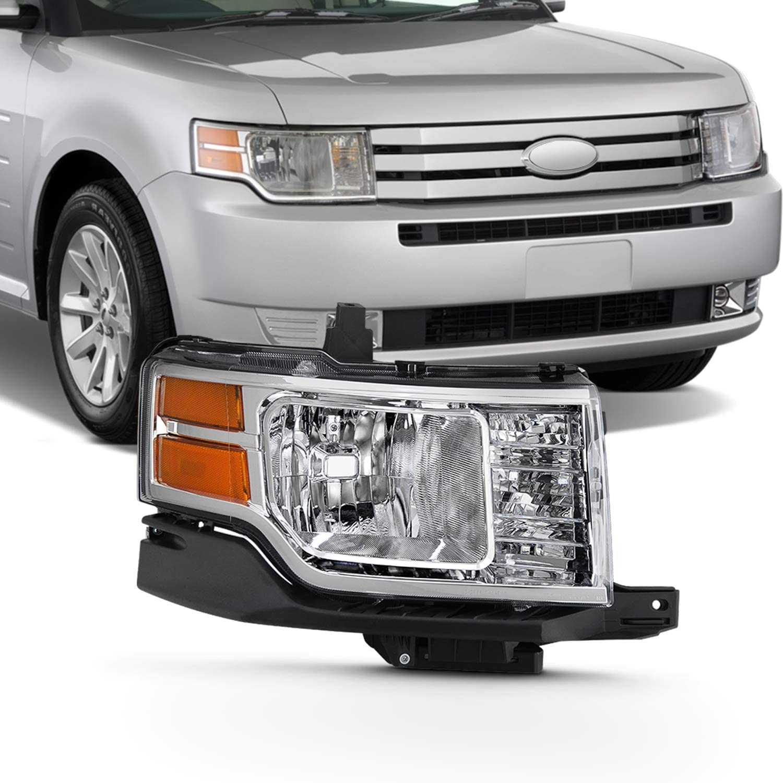 Fits 2009 2010 2011 2012 Ford Flex SE SEL [Halogen Type] Chrome Headlight w/Amber Side Signal Lamp Passenger Right Side