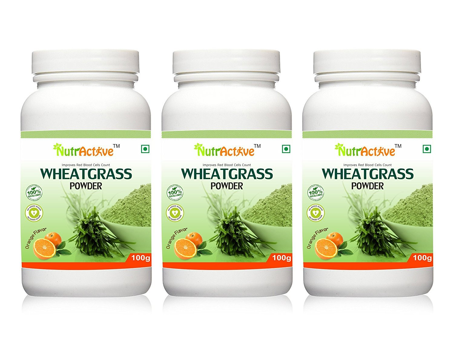 NutrActive Organic Wheatgrass Powder with Orange Flavor - 100 gm (Pack of 3)