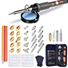 TOPELEK Wood Burning Tool Kit, Upgraded 43-in-1 Wood Burning Pen Soldering Iron Kit, Leather Pyrography Kit with 15x Wood Carving & Embossing Tips, 13x Soldering Tips, 2X Stencils, Sponge Stand, Grey