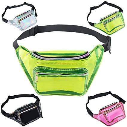 Amazon.com  Holographic Fanny Pack - Waterproof Waist Pouch Bag for ... edcd12ecb6