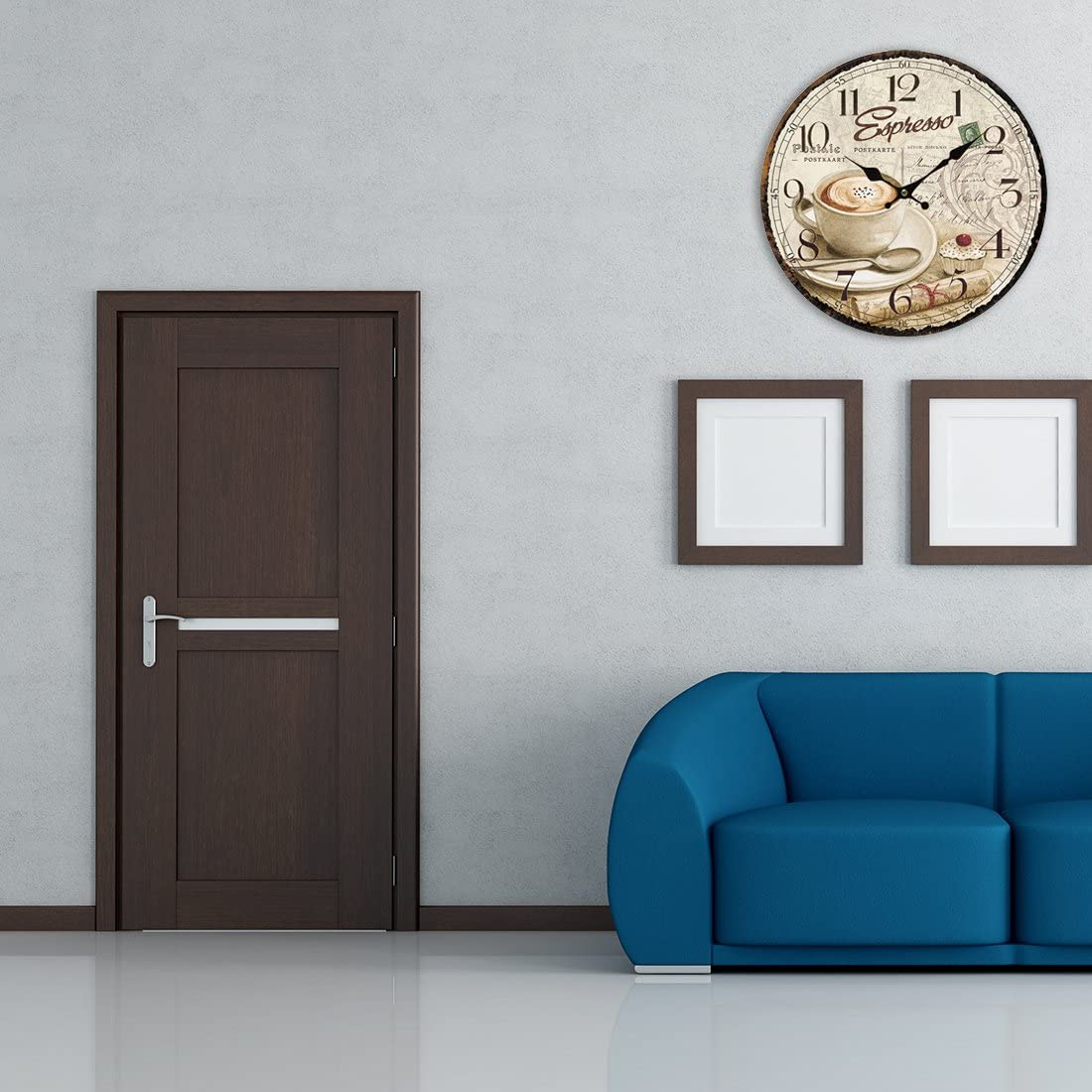 XSHION Wooden Wall Clock, 13 Inch Wall Clocks Decorative Living Room Art European Antique Style Coffee-3