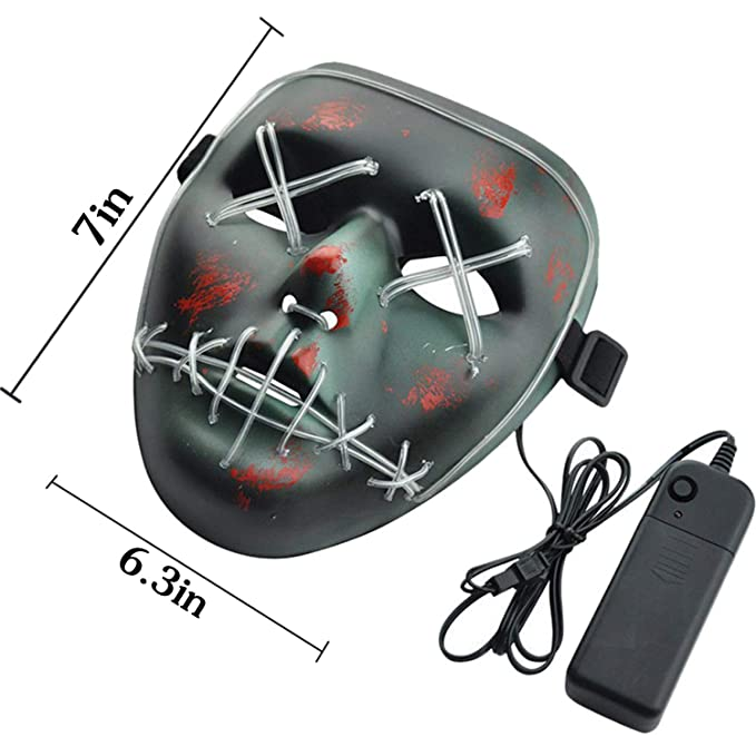 Amazon.com: Costume Masks LED Light Up EL Wire Purge Masks Light Up ...