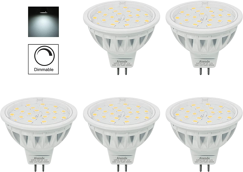 Aiwode DC12V Lampadine MR16 GU5.3 LED,2700K Bianco caldo 5W Equivalente 50W,Ra85 600LM Non Dimmerabile,10 Pezzi.