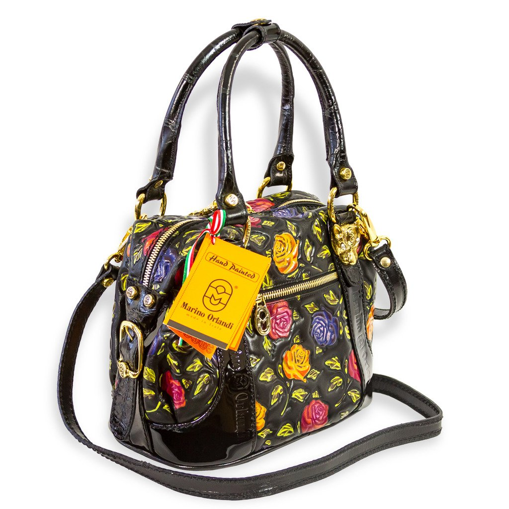 Marino Orlandi Italian Designer Handpainted Red Roses Leather Boxy Purse Bag   Amazon.in  Shoes   Handbags 5bb7a79128767