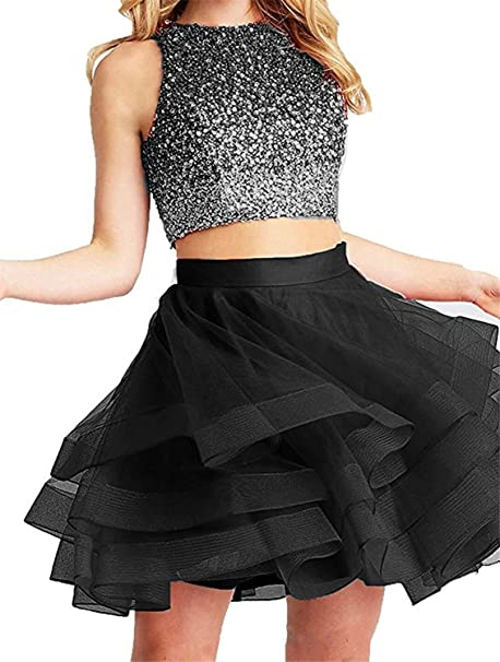 8d8886c1019 Fanciest Women s Beaded Two Pieces Homecoming Dresses 2018 Ruffles Short  Prom Gowns Black US2