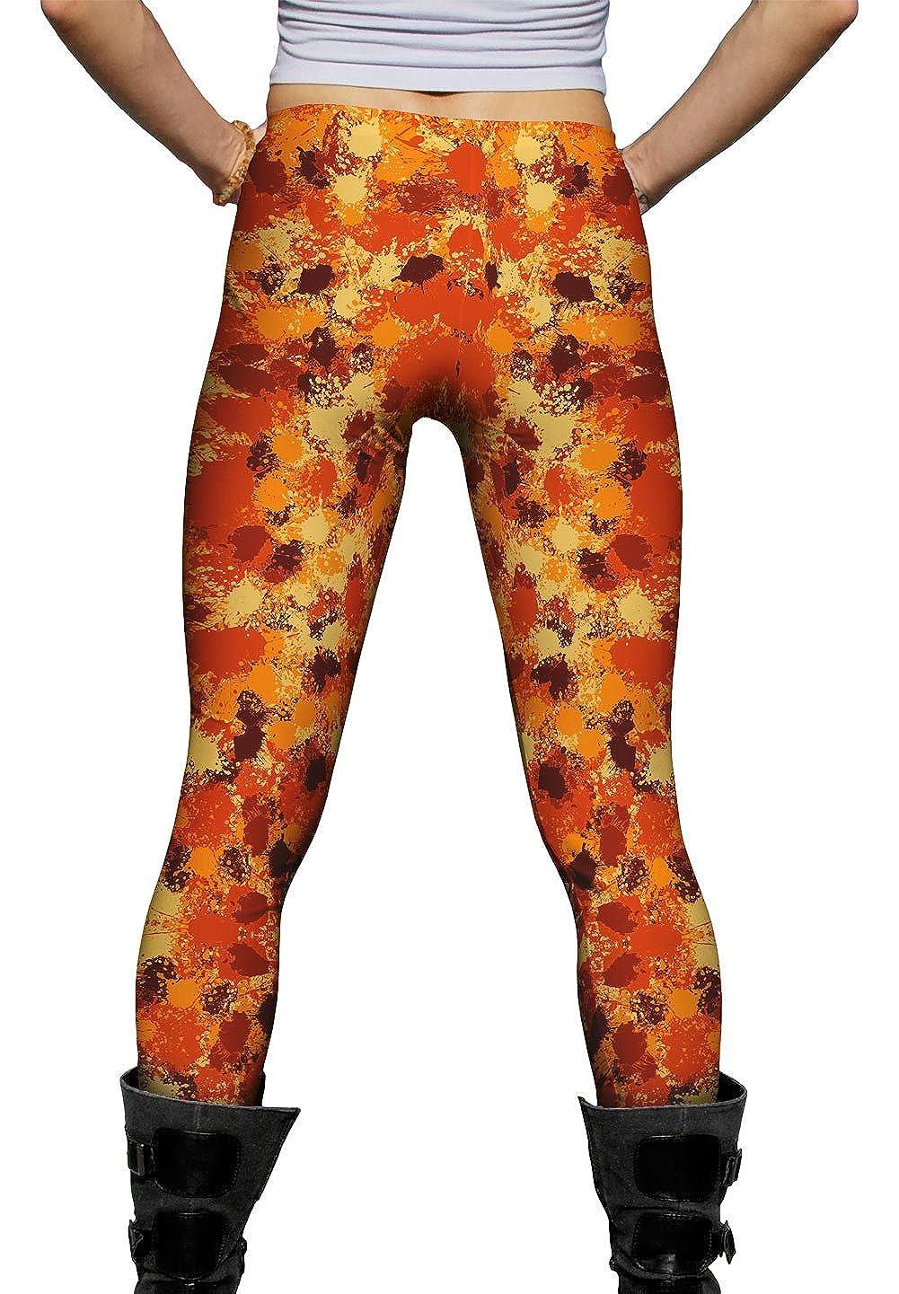 Ladies Womens Leggings Yizzam Paint Splatter Madness Orange