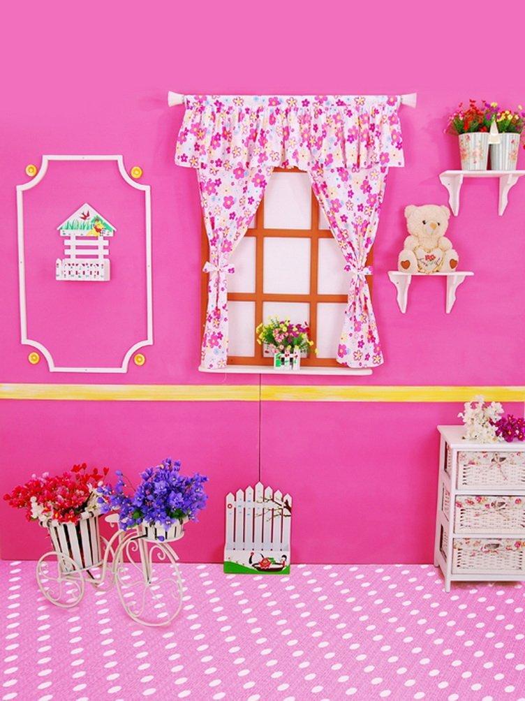 ピンク部屋花Bearsウィンドウ写真の背景幕写真小道具Studio背景5 x 7ft   B01GQDXXI0
