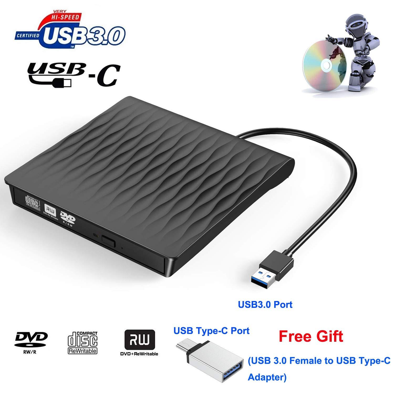 Xglysmyc External USB3.0 CD DVD Drive,Type-C USB3.0 Dual Port USB-C Ultra-thin Portable CD/DVD/+/-RW Player Burner Writer Rewriter Reader Compatible with Laptop/Mac/Desktop/Mac OS/Windows10/ 8/7-Black