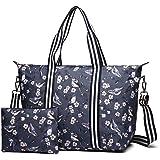 Miss Lulu 2 Pieces Set Women Bird Flower Matte Oilcloth Foldaway Overnight Bag Large Light Weight Shoulder Handbag (6641-16J Navy)