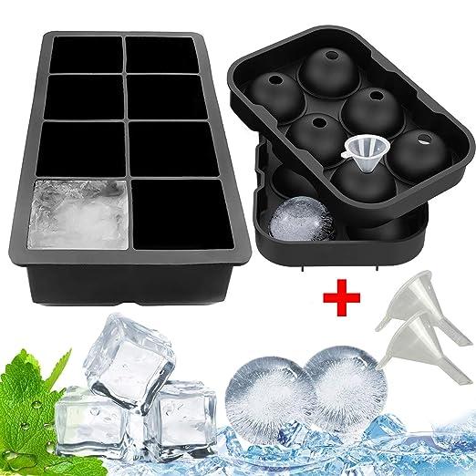 Bandejas de silicona para cubitos de hielo 2pack: Amazon.es ...