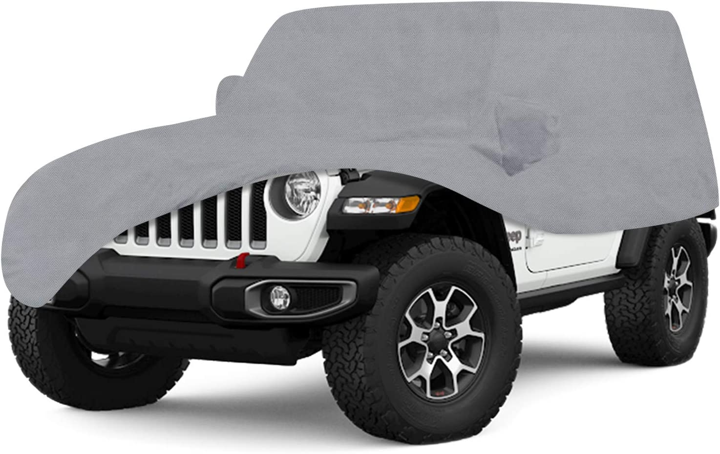 OOFIT Jeep Wrangler Full Cover for 2 Door Jeep Wrangler 5 Layers Fabric Windproof Dustproof Scratch Proof /& Adhesive Repair Patch Grey