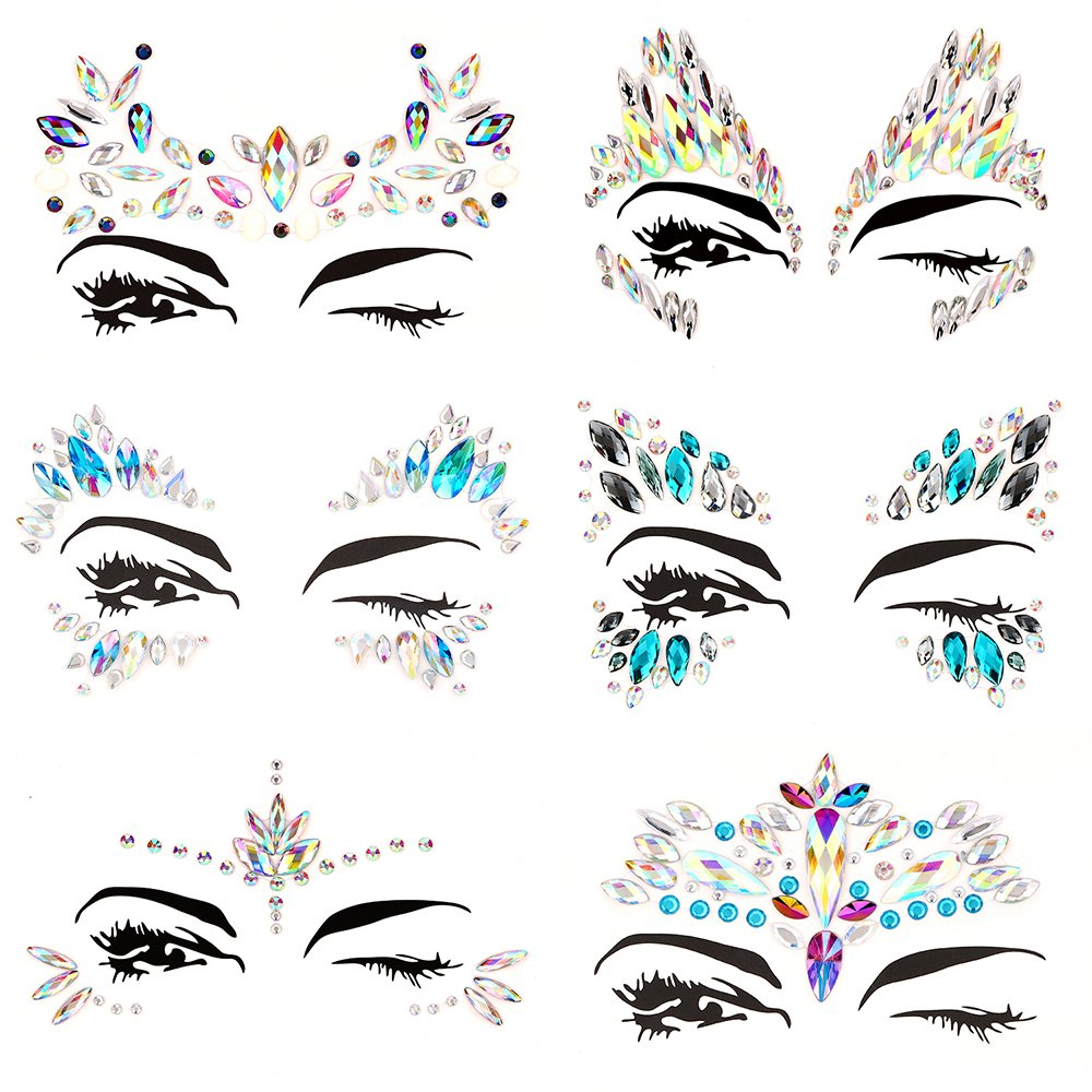 Bling 6 Sets Self-adhesive Mermaid Face Gems Stickers, Rave Festival Face Jewels Crystal Rhinestone Temporary Tattoo Stickers DIY Crafts Gem for Body, Makeup, Festival, Carnival by Bling (Image #3)