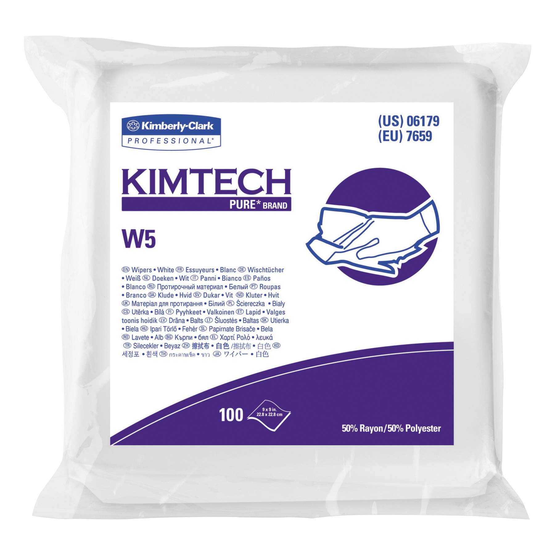 Kimtech 06179 W5 Critical Task Wipers, Flat Double Bag, Spunlace, 9x9, White, 100 per Pack (Case of 5 Packs)