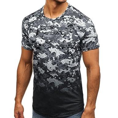 RETUROM -Camisetas Camiseta para Hombre, Manga Corta con Cuello Redondo y Estampado de Camuflaje Casual para Hombre: Amazon.es: Ropa y accesorios