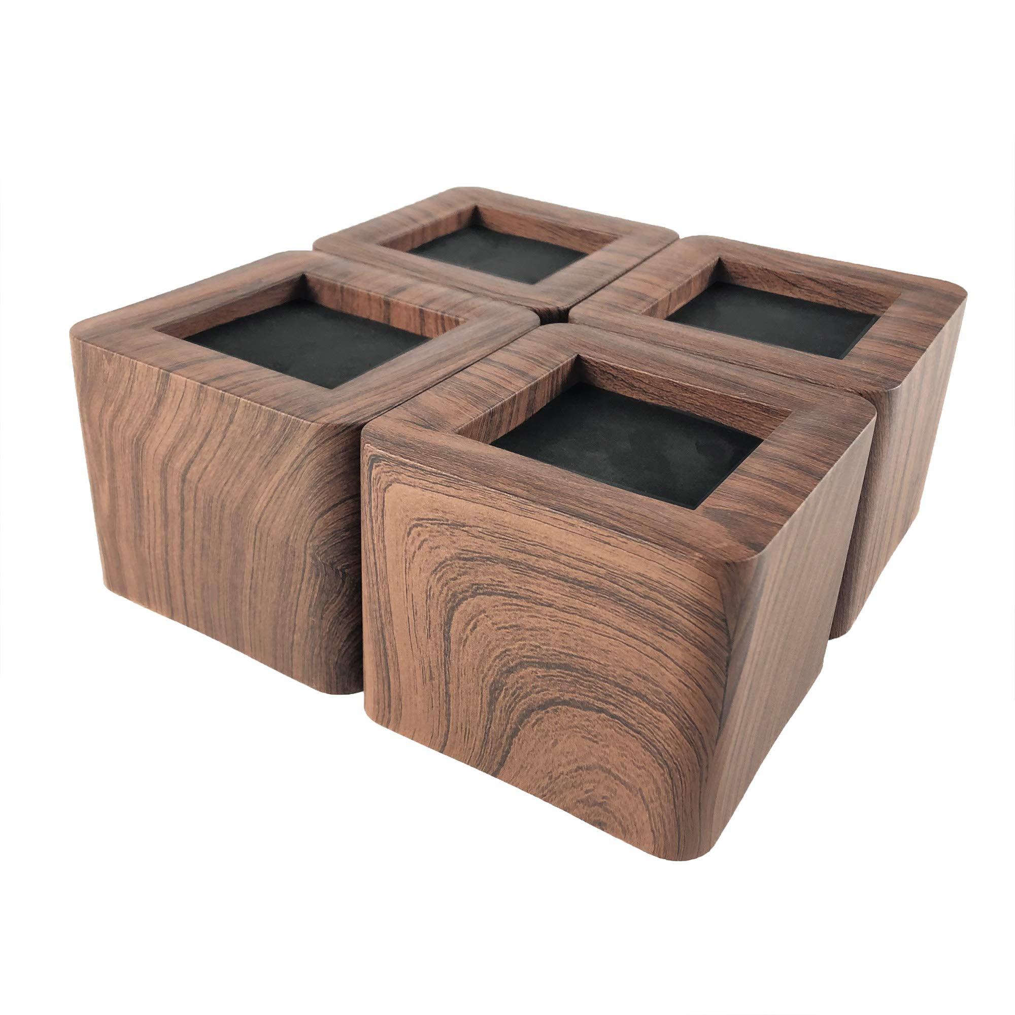 MIIX HOME / Bed Risers 3 Inch | Heavy Duty Wood Color Furniture Riser | 4PCS | Dark Brown Sofa Risers or Table Risers (Dark Wood Colour)