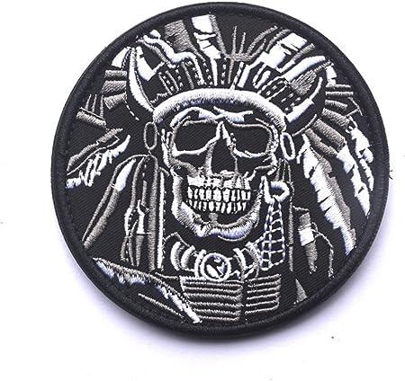 Muerte Cráneo Guerra Jefe indio ejército moral militar táctico SWAT bosque Velcro parche bordado parche de Velcro moral parches insignias: Amazon.es: Juguetes y juegos